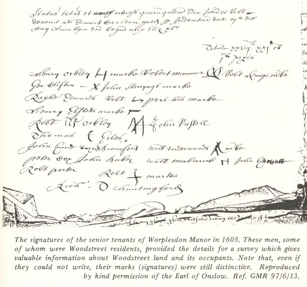 Signatures of Senior Tenants of Worplesdon Manor in 1605