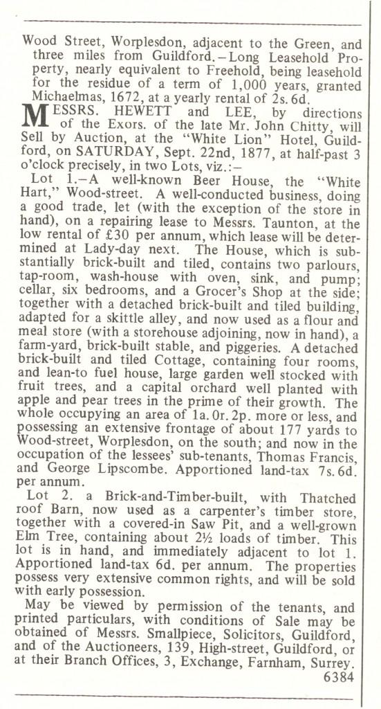 Surrey Advertiser White Hart Auction 1877