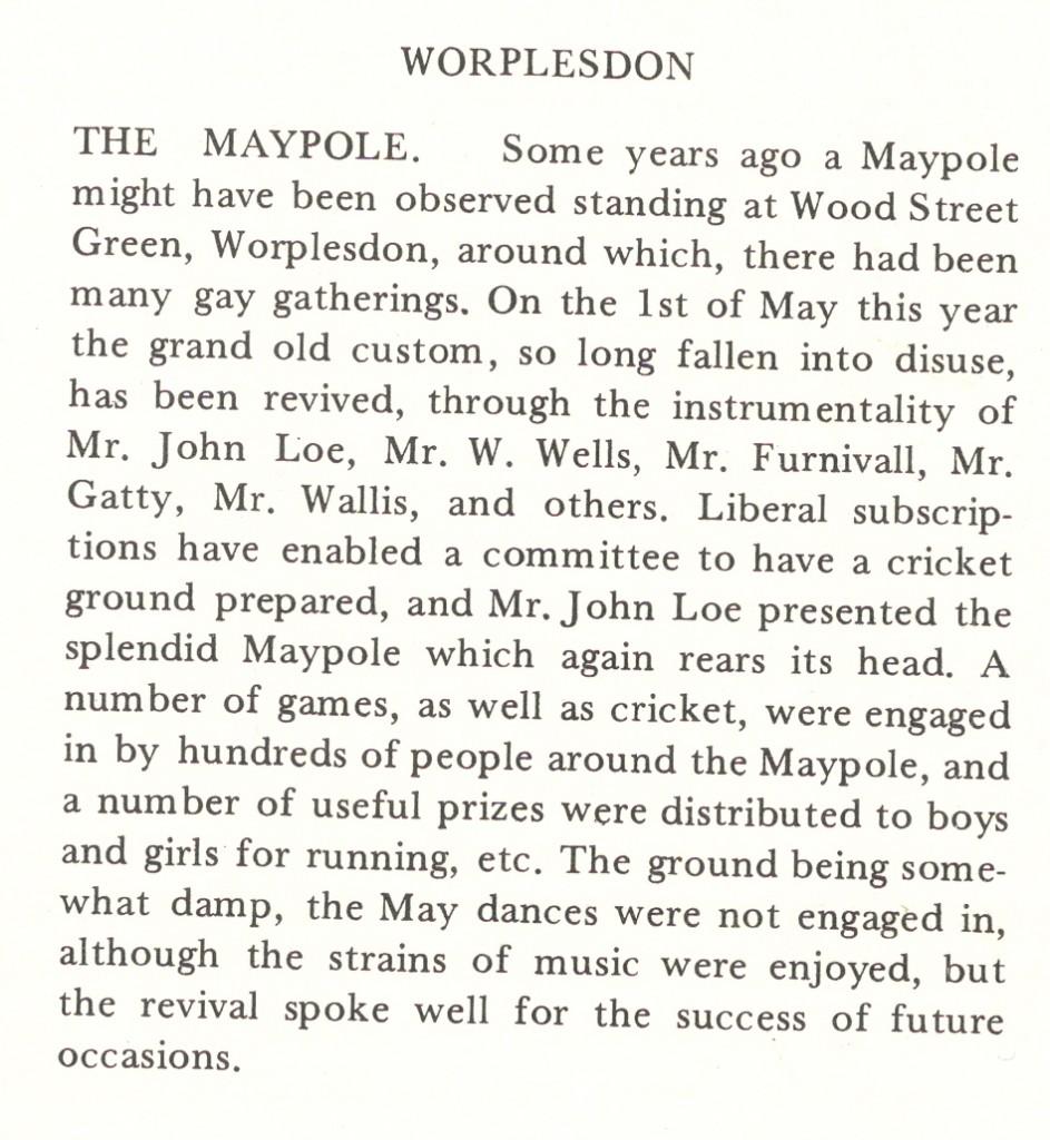 Surrey Advertiser 1871 Wood Street Village Green Maypole renewal