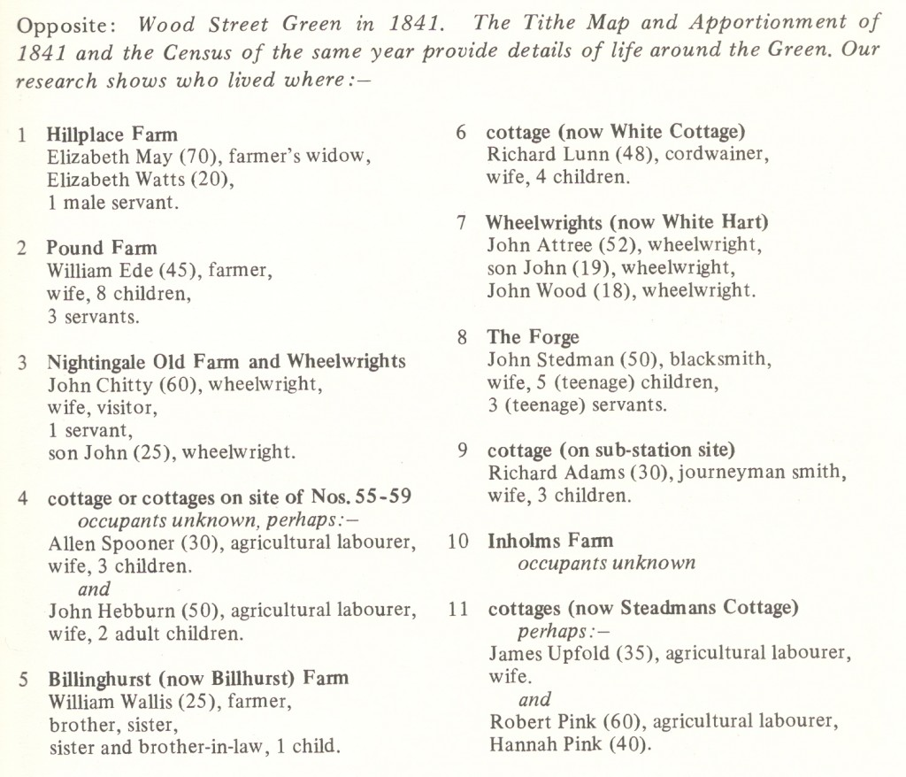 Census 1841 information showing who lived around Wood Street Village Green