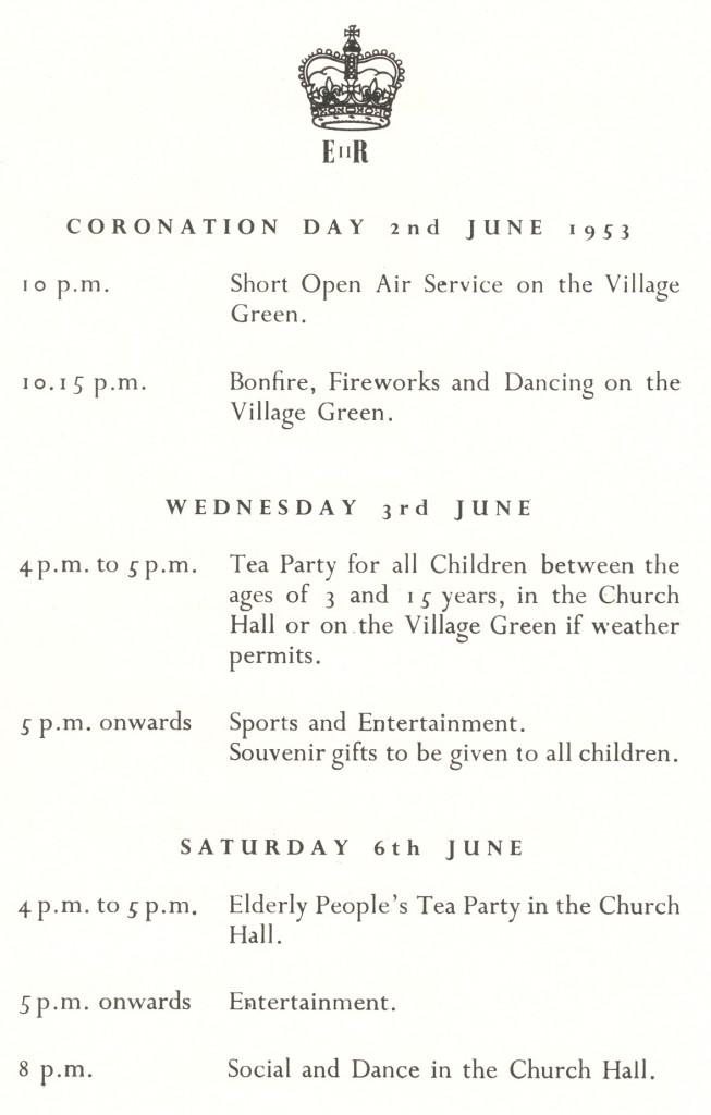 Coronation Day June 1953 Programme for Wood Street Village